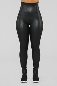 Join The Club Faux Leather Leggings - Black