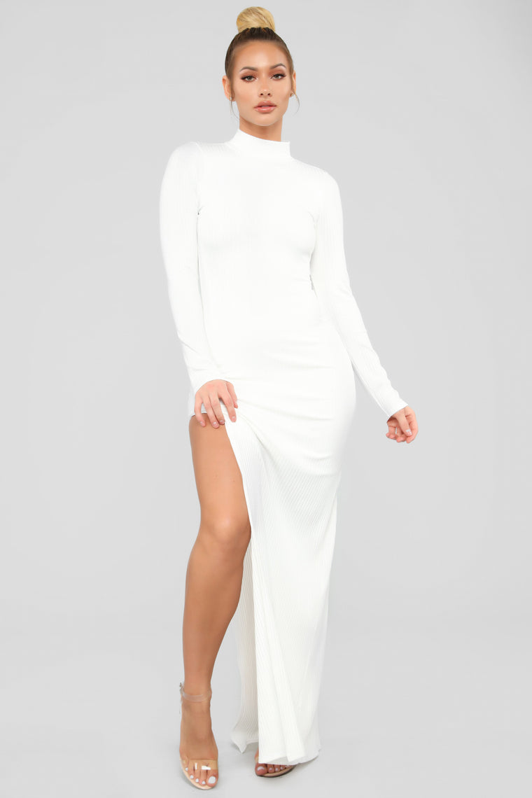 Like It Or Leave It Ribbed Maxi Dress - White