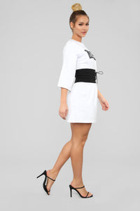 Very Anti Social Graphic Tunic Dress - White