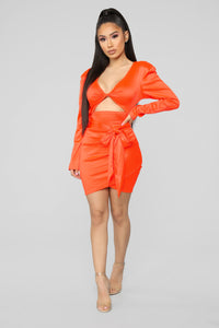 Twenty Fun Satin Dress - Neon Orange