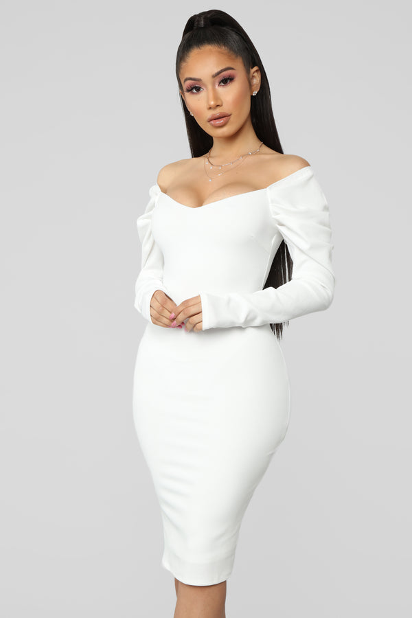 29e6376b Dinner Party Off Shoulder Midi Dress - White