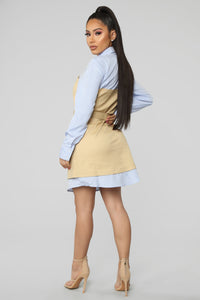 Work With Me Mini Dress - Taupe