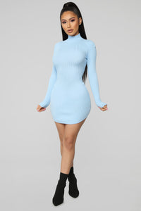 Chrystal Sweater Dress - Baby Blue