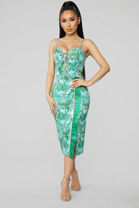 Tropical Getaway Midi Dress - Green