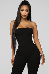 A Little Surprise Lace Up Jumpsuit - Black