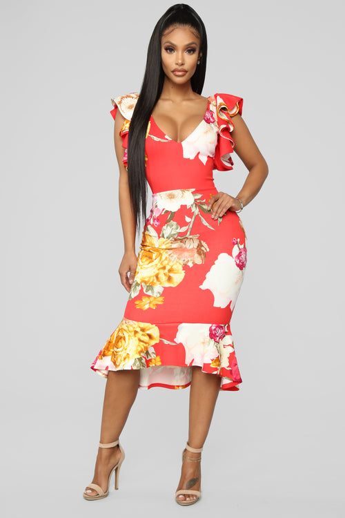 2ed22a125624 Graceful Nights Floral Midi Dress - Red