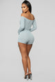 Sleepless Nights Off Shoulder Romper - Mint