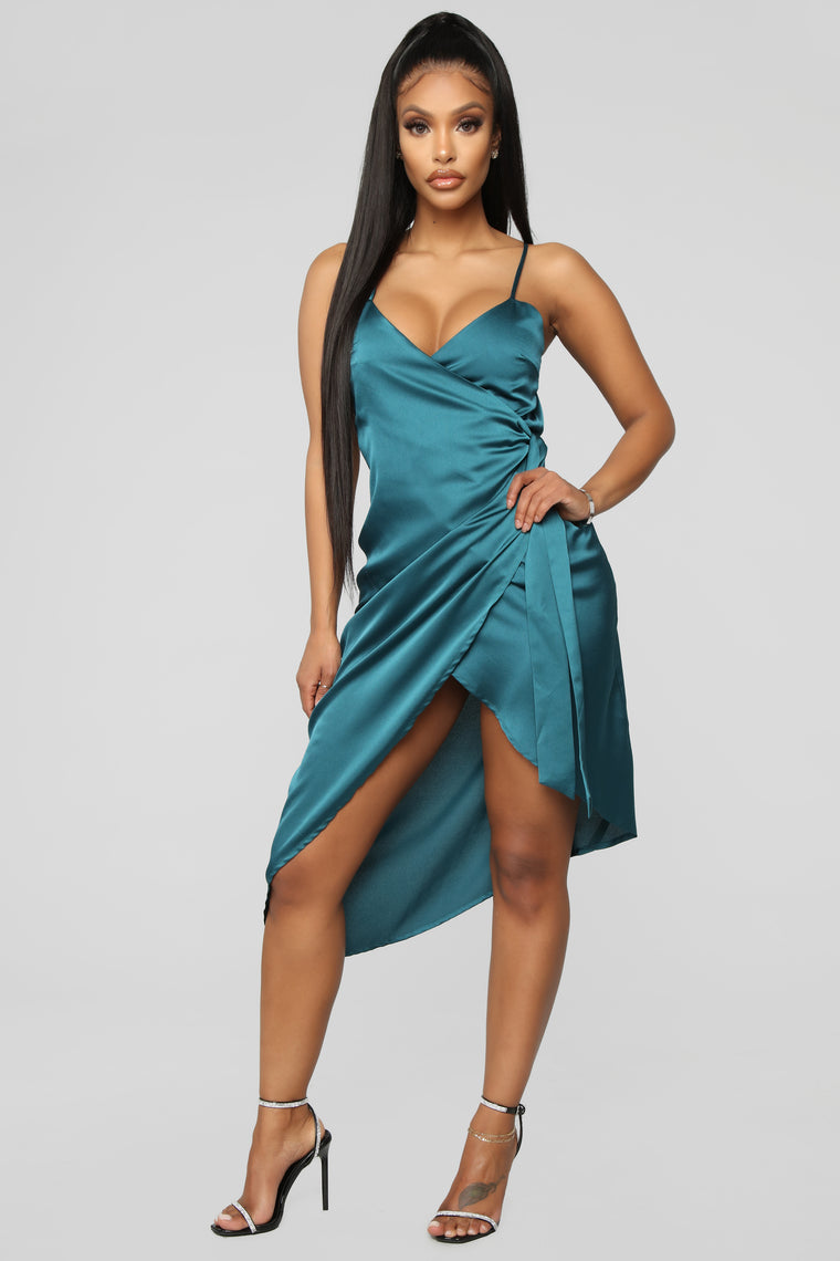 Pick A Side Satin Wrap Dress - Teal