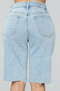 Daydreaming Distressed Bermuda Shorts - Light Blue Wash Angle 6