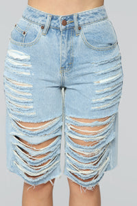 Daydreaming Distressed Bermuda Shorts - Light Blue Wash Angle 2