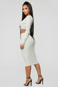 Taking It Easy Ribbed Set - Heather Grey