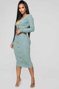 Taking It Easy Ribbed Set - Sage