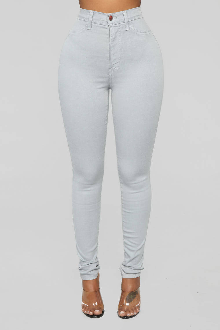 Classic Color High Waist Jeans - Grey