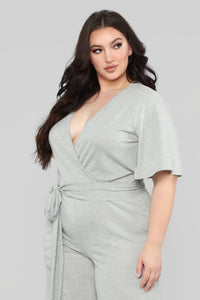 Best You Ever Had Jumpsuit - Heather Grey