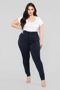 You're So Basic High Rise Jeans - Dark Denim