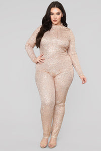 She's A Star Sequin Jumpsuit - Rose Gold