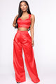 Trendsetter Look Satin Pant Set - Red