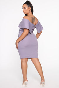 Lyla Off Shoulder Dress - Lavender Angle 6