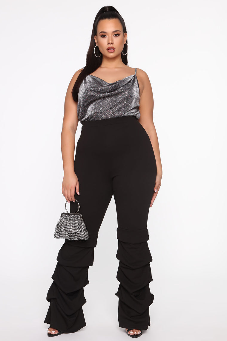 Lets Dance The Night Away Stacked Pant - Black