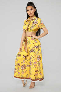 Mi Amor Coulette Pant Set - Yellow/Multi Angle 1
