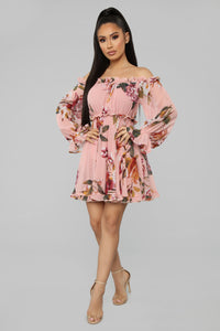Cultivate The Soul Floral Mini Dress - Pink