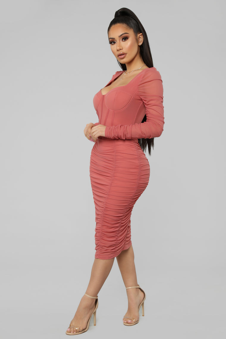 Don't Get Sassy Mesh Midi Dress - Marsala