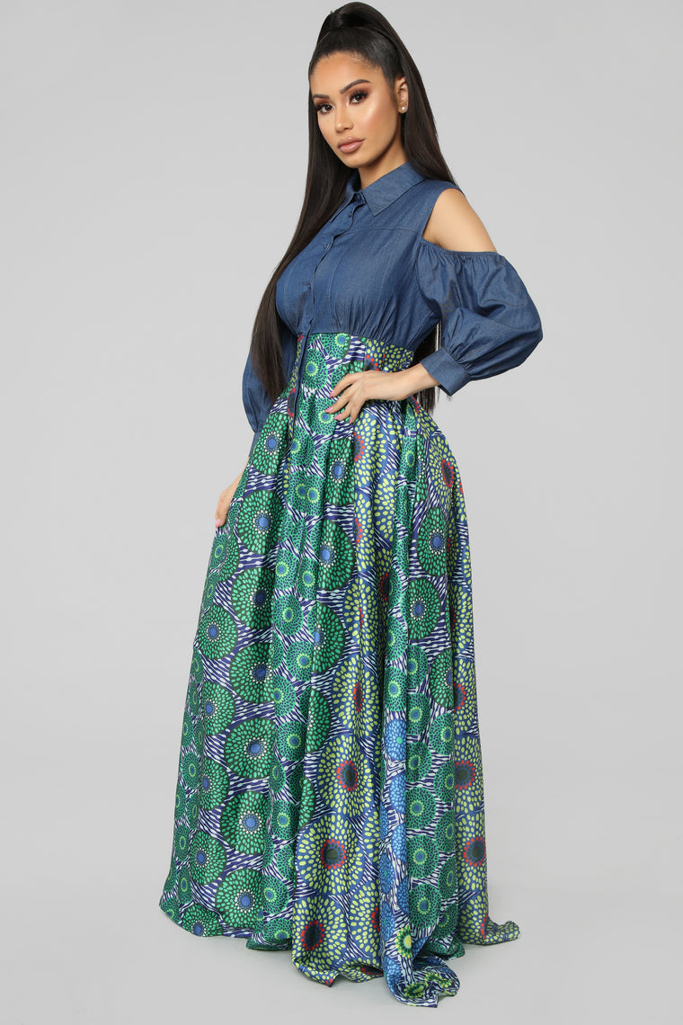 Escape The Rhythm Denim Maxi Dress - Denim/Multi