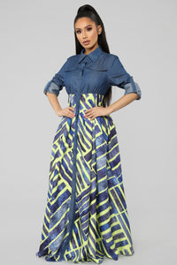 Sense The Rhythm Denim Maxi Dress - Denim/Multi
