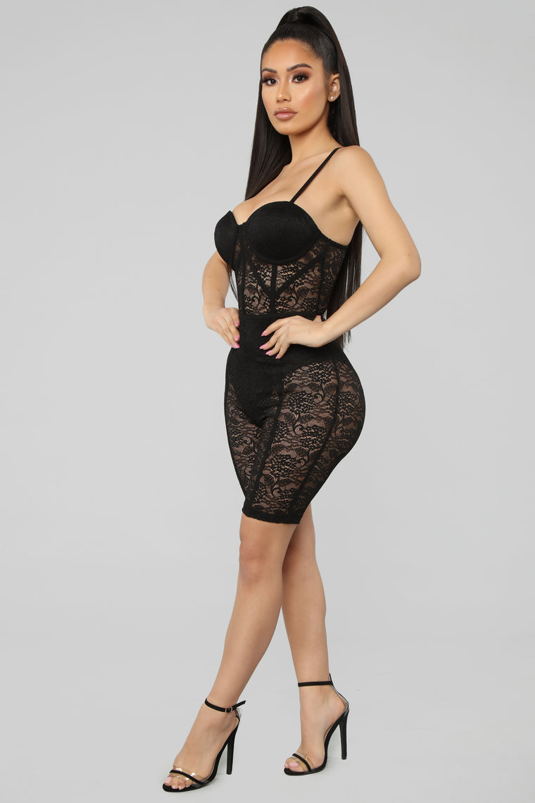 The Sky Is The Limit Lace Romper - Black