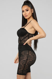 The Sky Is The Limit Lace Romper - Black Angle 4
