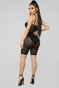 The Sky Is The Limit Lace Romper - Black Angle 5