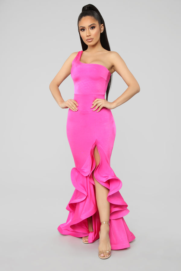 1abaad67d1 Take Me To Paris One Shoulder Maxi Dress - Fuchsia