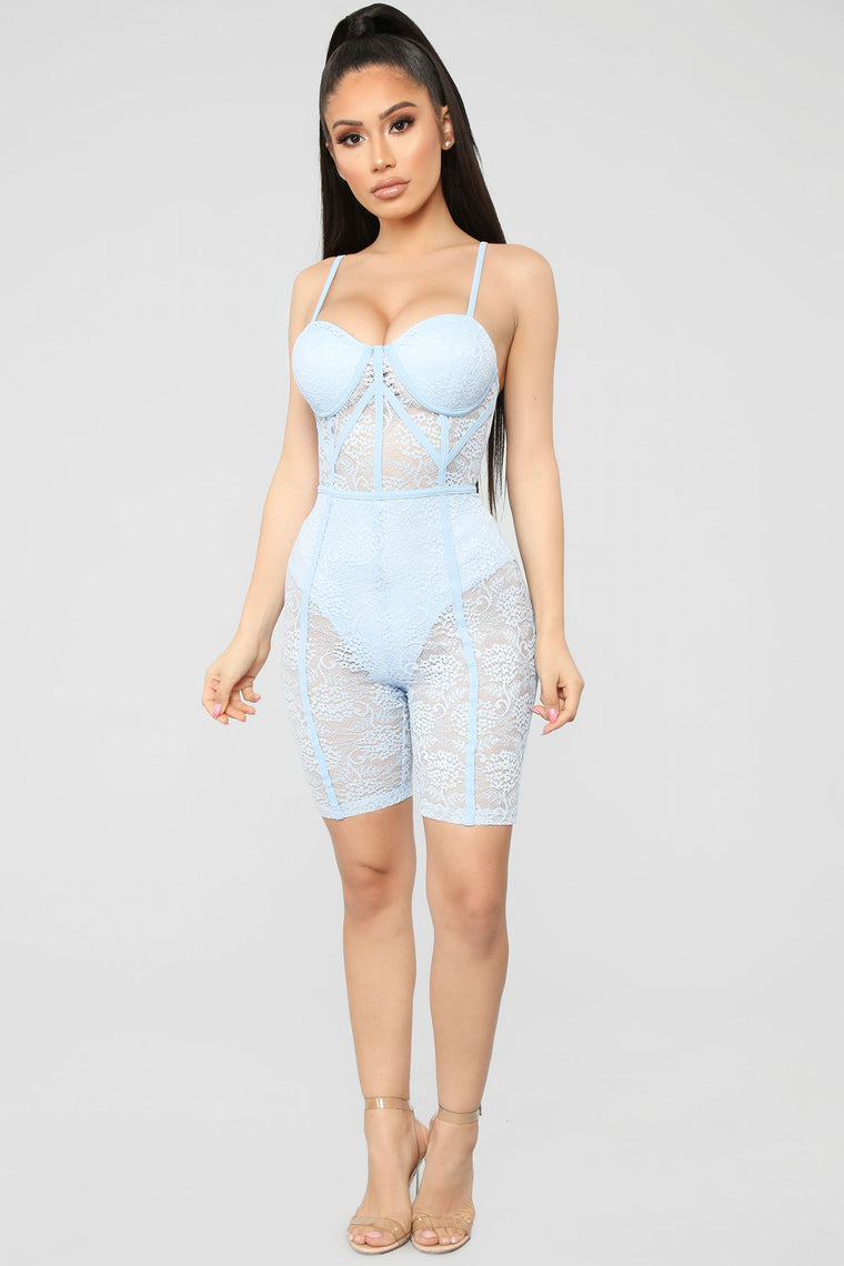 The Sky Is The Limit Lace Romper - Light Blue