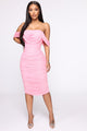 Bad For The Night Bandage Midi Dress - Pink