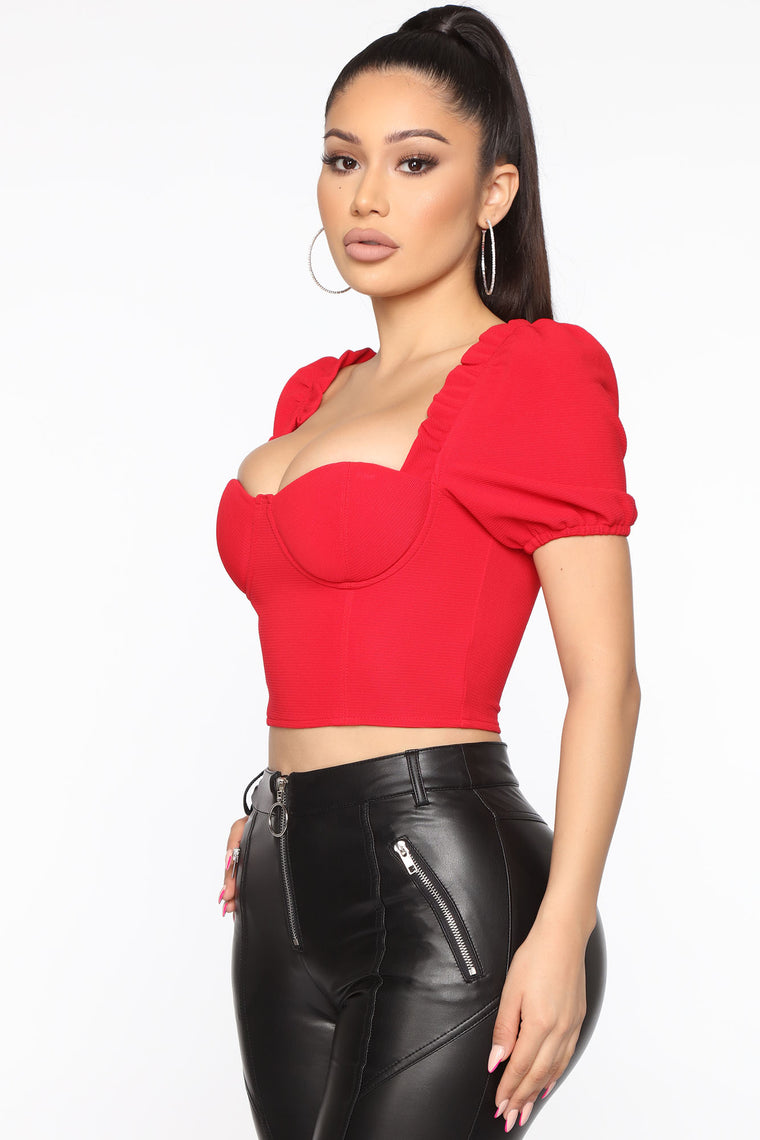 Not Enough For Me Cropped Top - Red