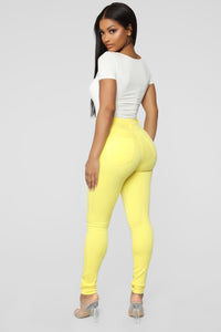 Classic Color High Waist Jeans - Yellow