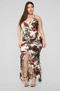 Chasing Waterfalls Ruched Maxi Dress - Ivory/Multi Angle 5