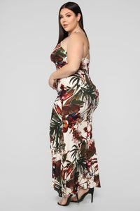 Chasing Waterfalls Ruched Maxi Dress - Ivory/Multi Angle 7