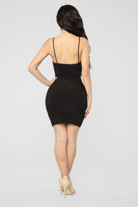 Stay Or Leave Lace Mini Dress - Black Angle 4