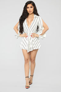 Straighten You Out Striped Romper - White/Black