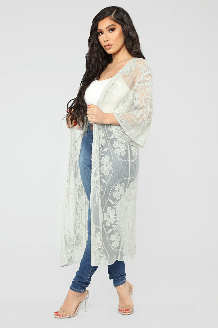 Embroidery Romance Duster - Sage