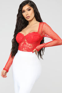 Don't Wanna Wait Bodysuit - Red