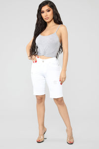 Wall Flower Distressed Bermuda Shorts - White