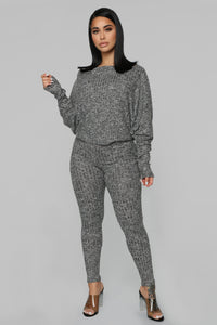 All In The Mix Pant Set - Charcoal