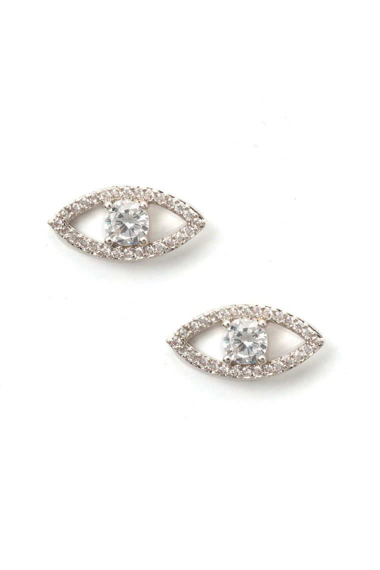 Eyes On The Prize Stud Earrings - Silver