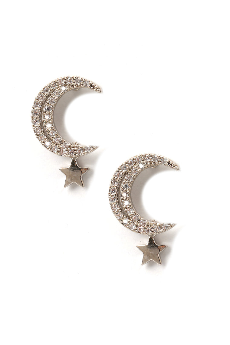 To The Moon And Back Earrings - Silver