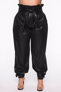 Got Your Love Faux Leather Jogger Pant - Black Angle 7