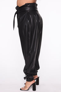 Got Your Love Faux Leather Jogger Pant - Black Angle 8