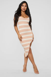 Every Angle Striped Midi Dress - Peach Angle 1