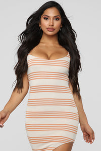 Every Angle Striped Midi Dress - Peach Angle 2